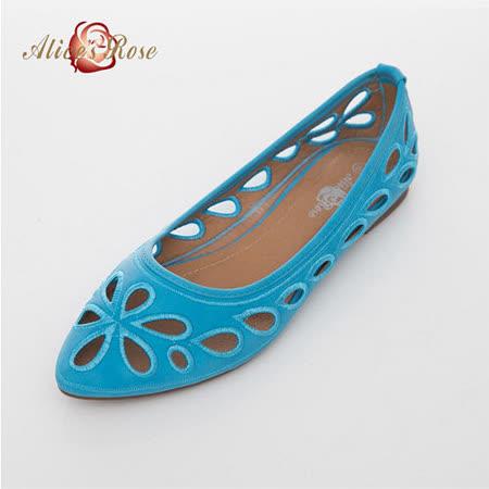 Alice's Rose 精緻雕花縷空尖頭鞋-藍色