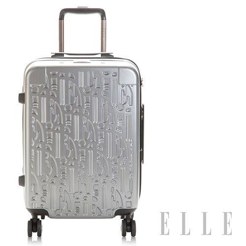 ELLE頂級髮絲紋 藝術簍空雕刻行李箱20吋輕時尚華麗藝術100%純法國PC材質 -時尚銀EL31123B20-07