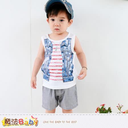 魔法Baby~嬰幼兒套裝~百貨專櫃正品純棉背心&短褲~k35322