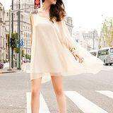 韓版限定【Sweet Dress】浪漫肩飾造型不規則雪紡洋裝