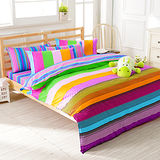 FOCA《歡樂週末》加大100%精梳棉四件式舖棉兩用被床包組