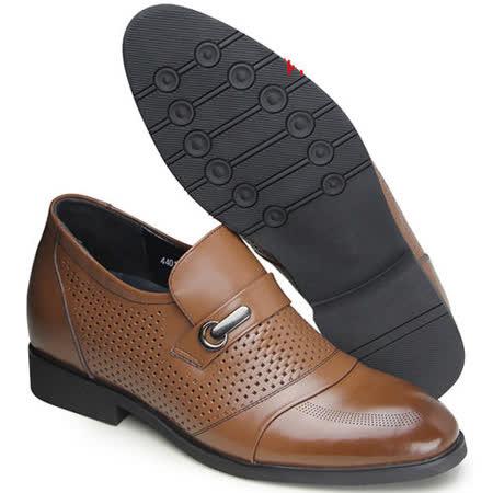 (201405新品)夏冬系列21044棕擦邊扣涼鞋6.5cm增高GOG高哥隱形增高鞋內增高鞋