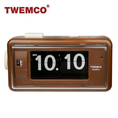 【TWEMCO】機械式 翻頁鐘 復古收藏 方形鬧鐘夜燈功能 (AL-30 咖啡色)