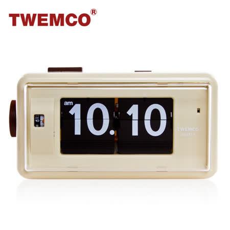 【TWEMCO】機械式 翻頁鐘 復古收藏 方形鬧鐘夜燈功能 (AL-30 米色)