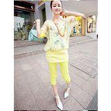 【韓系女衫】都會休閒風情 韓式風格 浪漫系 休閒服 套裝2件套-【黃色】