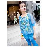 【韓系女衫】都會休閒風情 韓式風格 浪漫系 休閒服 套裝2件套-【藍色】