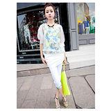 【韓系女衫】都會休閒風情 韓式風格 浪漫系 休閒服 套裝2件套-【白色】