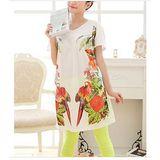 【韓系女衫】(中大碼) 夏季熱帶風情 長版a字 短袖上衣 背面鏤空紗款