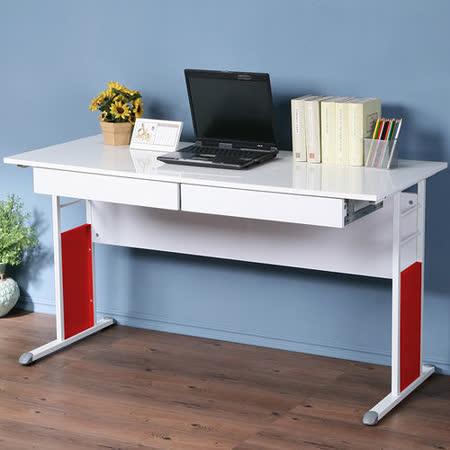 《Homelike》巧思辦公桌 亮白系列-白色亮面烤漆140cm(附二抽屜)