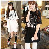 【韓系女衫】(中大碼) 夏季綿質 美式街頭風格 寬大長版t 漫畫鬥牛犬款-黑/白2色