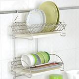 【百變金鋼】壁掛式雙層碗盤瀝水器