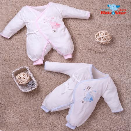 【聖哥-明日之星】有機棉-薄-嬰兒兔衣(長袖長褲、護手反摺、綁+釦)二色、三尺碼可選
