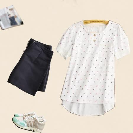 【Maya Collection森林系】甜美小雨傘拼接蕾絲輕柔感襯衫/上衣