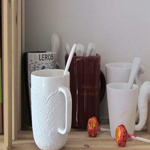 ~PS Mall~浮雕蕾絲杯 馬克杯 咖啡杯 陶瓷水杯^(J2371^)