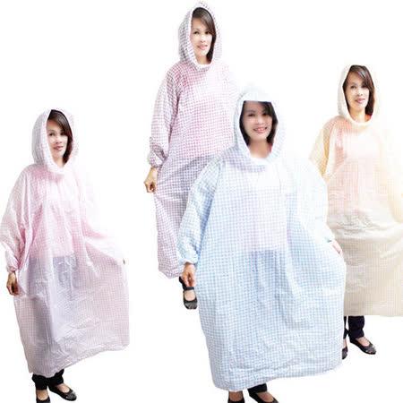 順本格紋粉彩輕便雨衣-12入