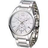cK 極速風潮三眼計時鋼帶腕錶-白 K2H27126