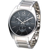 cK 尊爵大錶徑三眼計時腕錶-黑 K2F27161