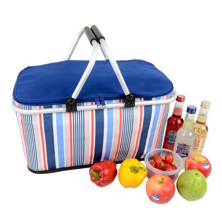 【LIFECODE】海軍風折疊保冰提籃/購物籃/保溫袋/保冷袋 (藍色)