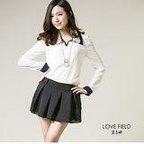 艾之田LOVE FIELD-韓風甜美窄版復古領雪紡上衣