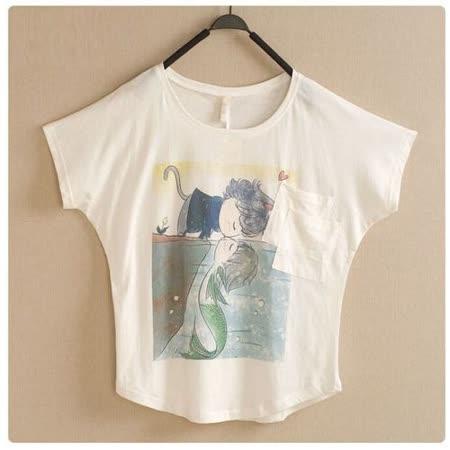 【Maya Collection森林系】可愛卡通動漫美人魚短袖寬鬆T恤