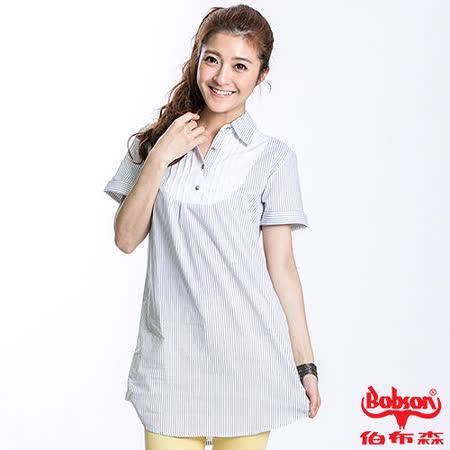BOBSON 女款細黑條長版短袖襯衫(白21125-80)