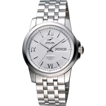 ENICAR 英納格 羅馬經典日曆機械腕錶-銀 168-51-326aA