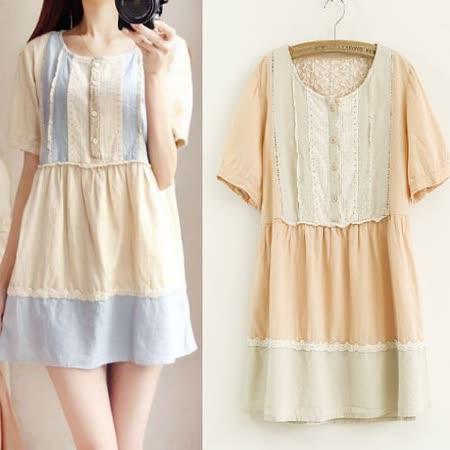 【MIDORI╭。綠】森女胸襟刺繡連衣裙(FD00101)