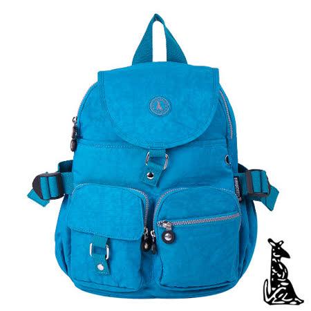 冰山袋鼠 - 輕盈系休閒運動風雙口袋防水後背包-藍色