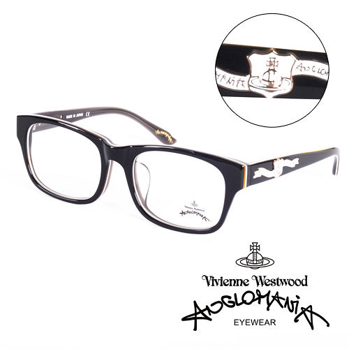 Vivienne Westwood 英國Anglomania英倫龐克徽章光學眼鏡^(黑^)