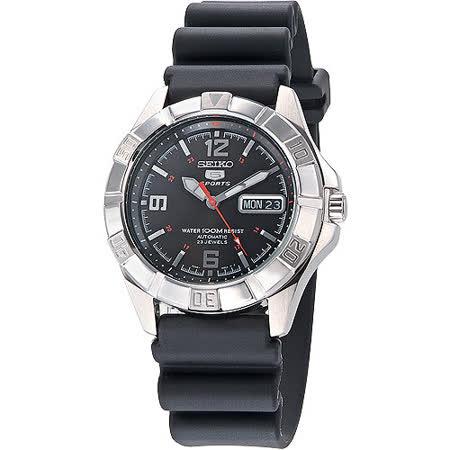 SEIKO SPORTS 飆風5號23石機械錶-黑 SNZD23K1