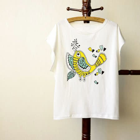 【Maya Collection森林系】綺麗夢幻鳥寬鬆蝙蝠T恤