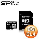 Silicon Power 廣穎 8G MicroSDHC(CL4) 記憶卡《附轉卡》