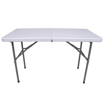【免工具】(4尺寬)二段式可調整高低-對疊折疊桌椅組/餐桌椅組(1桌2椅)