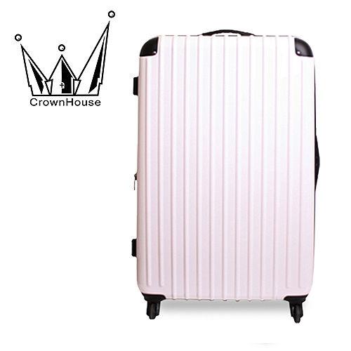 【Crownhouse】繽紛STYLE~輕量PC鏡面加大行李箱24吋(純色白)