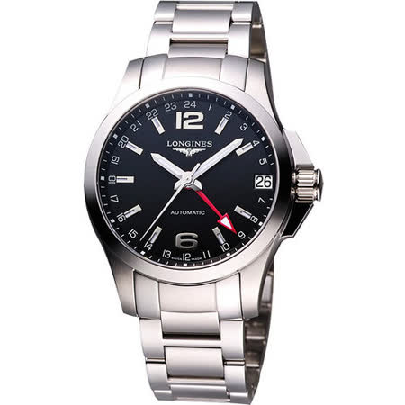 LONGINES 征服者GMT優雅典範腕錶-黑/銀/41mm L36874566