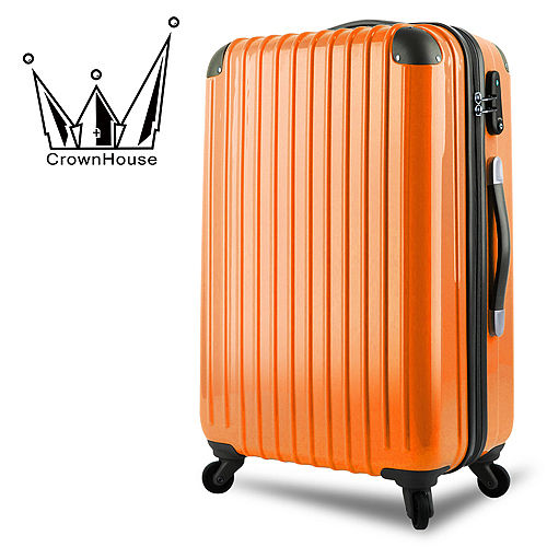 【Crownhouse】繽紛STY西門 大 遠 百LE~輕量PC鏡面加大行李箱20吋(柑橙橘)