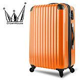 【Crownhouse】繽紛STYLE~輕量PC鏡面加大行李箱24吋(柑橙橘)