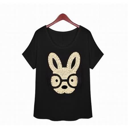 【韓系女衫】金色時尚亮麗小兔 短袖休閒T恤