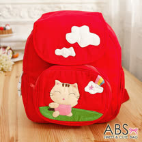 【ABS貝斯貓】可愛貓咪綿布小型後背包(88-170亮紅)