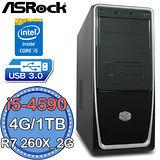 華擎B85平台【閻王密令】Intel第四代i5四核 R7 260X-2G獨顯 1TB燒錄電腦