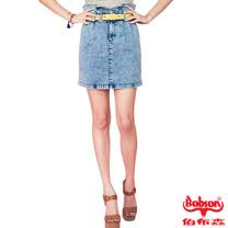 BOBSON 女款高腰頭牛仔短裙(藍D093-58)