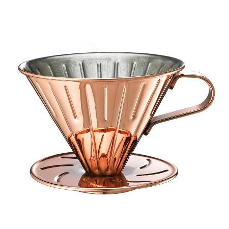 Tiamo 0916 V01不鏽鋼咖啡濾杯組-附濾紙 量匙 (玫瑰金) HG5033BZ