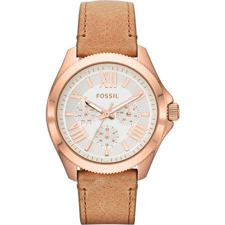 FOSSIL Cecile 羅馬日曆復刻腕錶-銀x玫塊金框/卡其 AM4532