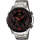 CASIO EDIFICE 霓彩時尚羅盤多功能腕錶(黑+紅指針/46.9mm) ERA300DB-1AV