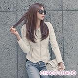 預購【CHACO韓國】搶眼圓領雙拉鍊造型修身長袖皮衣外套(2色M/L/XL)