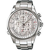 CASIO EDIFICE 經典三眼計時賽車腕錶(銀白/52mm)  EFR-507D-7A