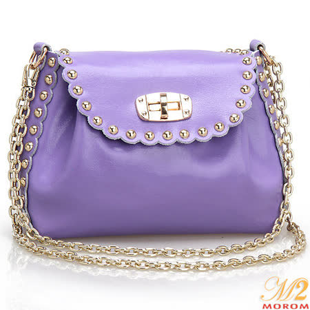 【MOROM】真皮甜心搖滾時尚鉚釘二用包(紫色)6686