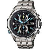 CASIO EDIFICE 新科技霓彩魅力計時腕錶(黑+藍時標/48mm) EFR-536D-1A2