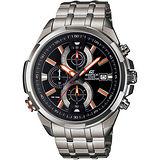 CASIO EDIFICE 新科技霓彩魅力計時腕錶(黑+橘時標/48mm) EFR-536D-1A4