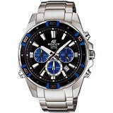 CASIO EDIFICE 衝鋒部隊三眼腕錶(黑+藍框mm) EFR-534D-1A2